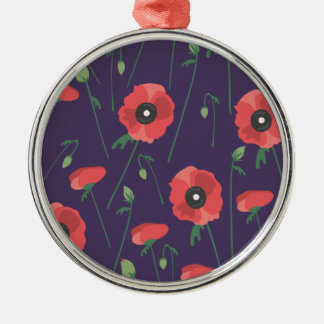 Blooming Springtime Poppies Purple Christmas Ornament