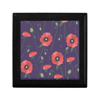Blooming Springtime Poppies Purple Gift Box