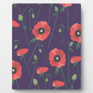 Blooming Springtime Poppies Purple Plaque