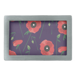 Blooming Springtime Poppies Purple Rectangular Belt Buckle