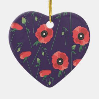 Blooming Springtime Poppy Purple Christmas Ornament