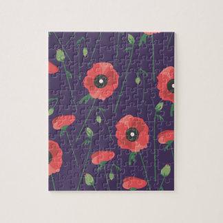 Blooming Springtime Poppy Purple Jigsaw Puzzle