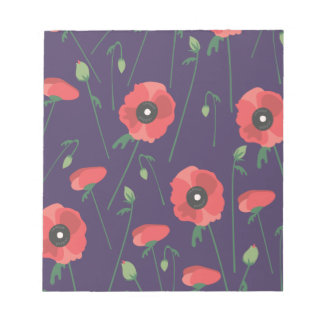Blooming Springtime Poppy Purple Notepad