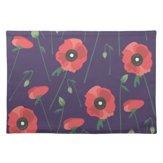 Blooming Springtime Poppy Purple Placemat