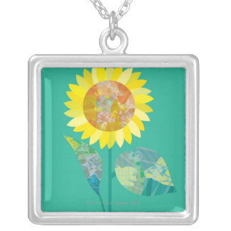 Blooming Sunflowers Silver Plated Necklace