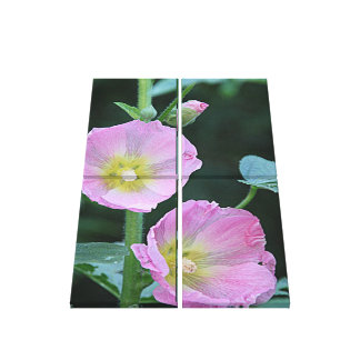 Blooming Together l Pink Hollyhock Flowers Canvas Print