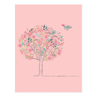 Blooming Tree and Birds in Love Postcard