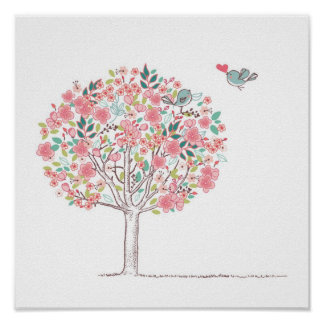 Blooming Tree and Birds in Love Poster