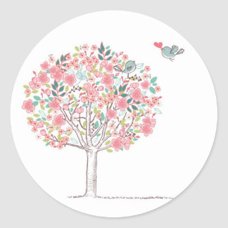 Blooming Tree and Birds in Love Round Sticker