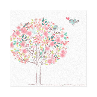 Blooming Tree and Birds in Love Stretched Canvas Prints