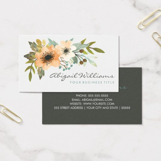 Blooming Watercolor Business Card