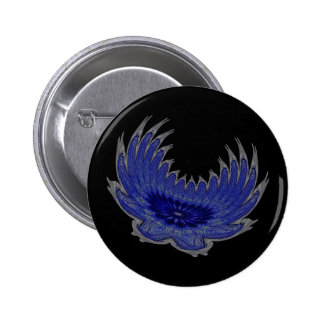 Blooming Wings blue Pinback Button