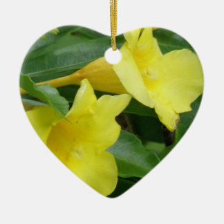 Blooming Yellow Trumpet Vine Christmas Ornaments