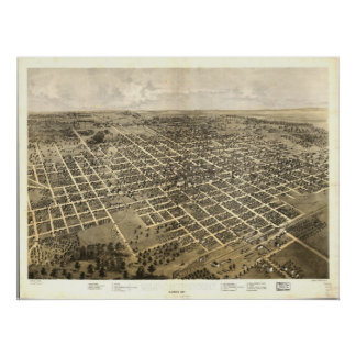 Bloomington Illinois 1867 Antique Panoramic Map Poster
