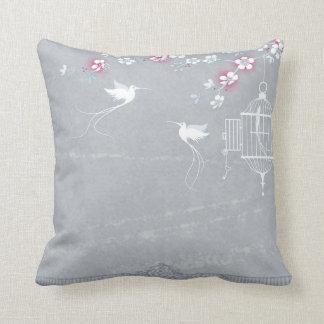 Blossom & birdcage cushion
