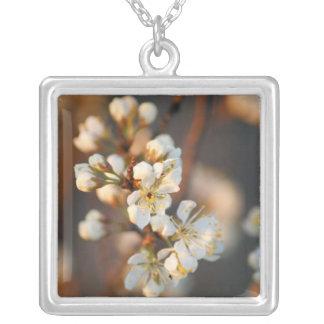 Blossom Bokeh Square Pendant Necklace