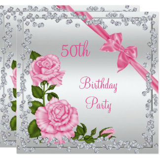 Blossom Bows & Diamonds 50th Birthday Double Sided Card