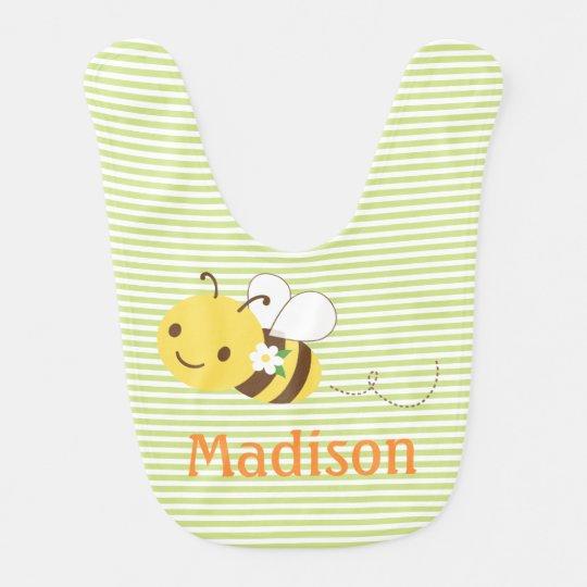 Blossom Bumblebee Custom Personalised Baby's Name Bib