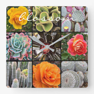 """Blossom"" cacti & roses grid photo wall clock"
