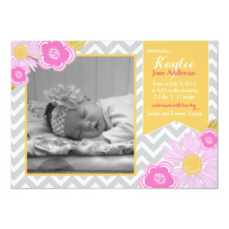 Blossom Chevron Baby Girl birth announcement Pink