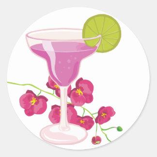blossom, drink round sticker