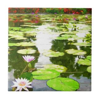 Blossom Lotus Flower In Pond Ceramic Tile