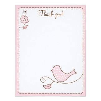 Blossom Pink Bird 4x5 Flat Thank you note 11 Cm X 14 Cm Invitation Card