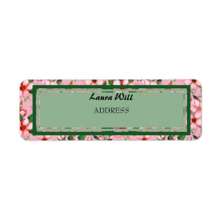 Blossom pink & green Wedding Return Address Labels