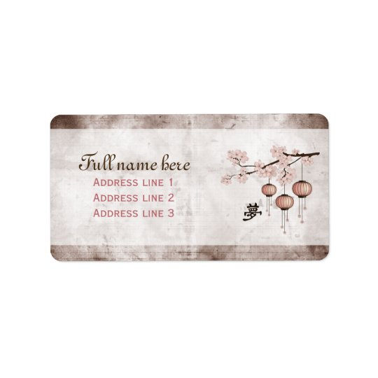 "Blossom pink lanterns ""Dream"" Address Label"