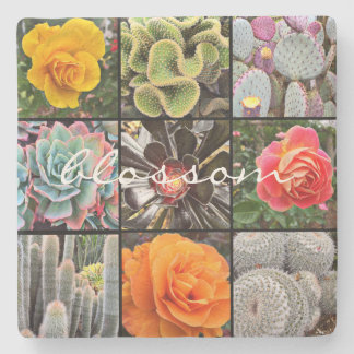 """Blossom"" Quote Vivid Cacti & Roses Close-up Photo Stone Coaster"