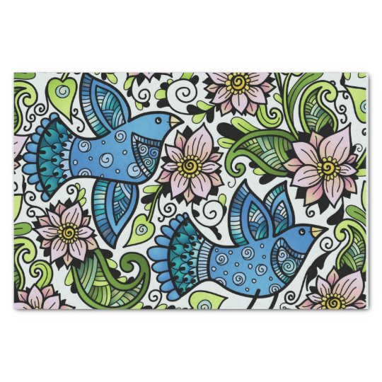 Blossom Spring _Chirping Birds and Flowers_Gift Tissue Paper