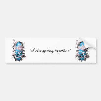 Blossom spring sakura. Elegant flower silhouette. Bumper Sticker