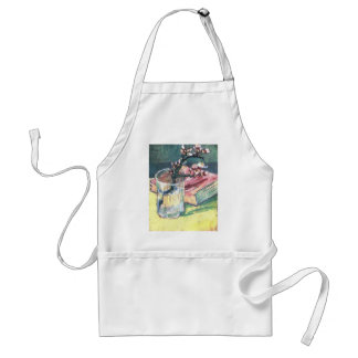 Blossoming Almond Branch in a glass and a book Standard Apron