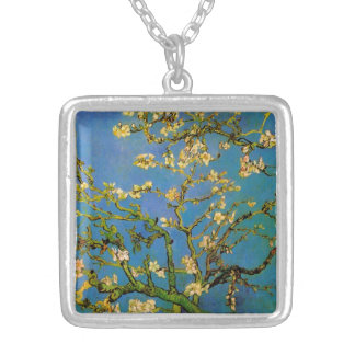 Blossoming Almond Tree by Van Gogh, Fine Art Square Pendant Necklace