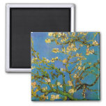 Blossoming Almond Tree by Van Gogh, Vintage Flower Square Magnet