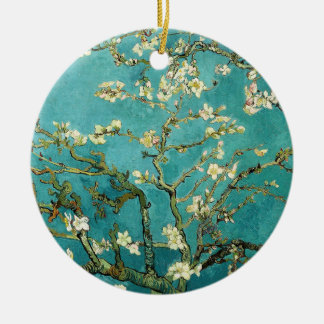 Blossoming Almond Tree Vintage Floral Van Gogh Round Ceramic Decoration