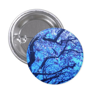 Blossoming Blue Branches 3 Cm Round Badge