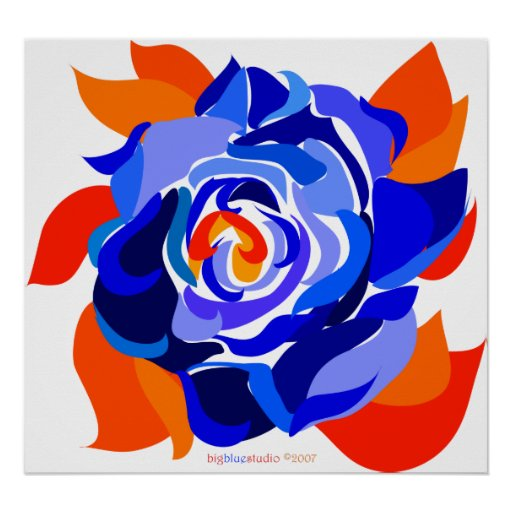 Blossoming Blue Rose Poster