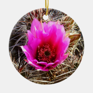 Blossoming Cactus (Prickly Pear) Desert Floral Round Ceramic Decoration