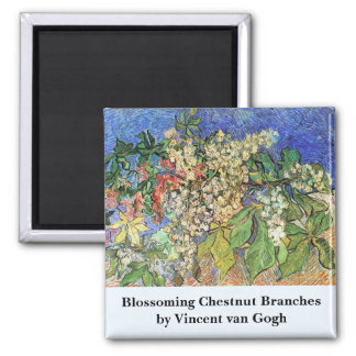 Blossoming Chestnut Branches by Van Gogh, Fine Art Square Magnet