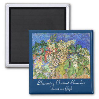 Blossoming Chestnut Branches Square Magnet