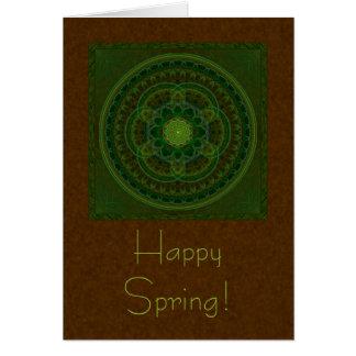 Blossoming Green Kaleidoscope Greeting Card