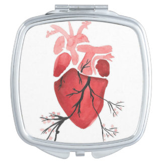 Blossoming Heart Compact Makeup Mirrors