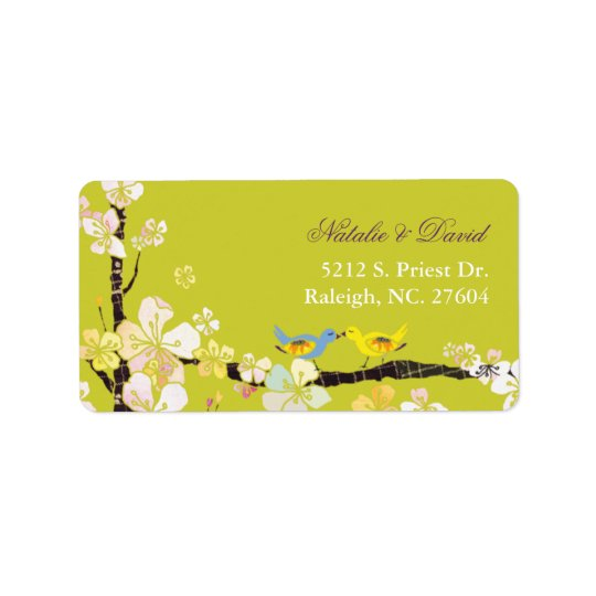 Blossoming Love Chartreuse Green Wedding Label