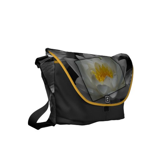 Blossoming of water lily messenger bag