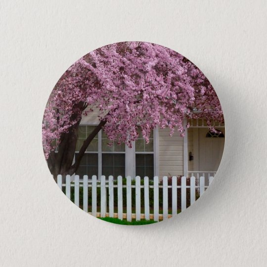 Blossoming Tree in the Suburbs 6 Cm Round Badge
