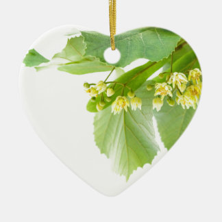 Blossoming twig of limetree or linden tree ceramic heart decoration