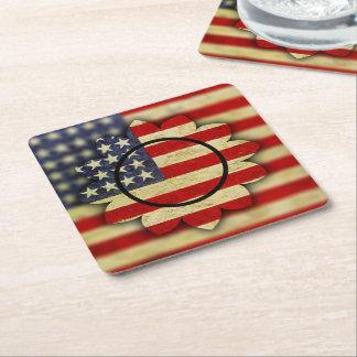 Blossoming USA Square Paper Coaster