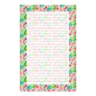 Blossoming Watercolor Succulents Pattern Stationery