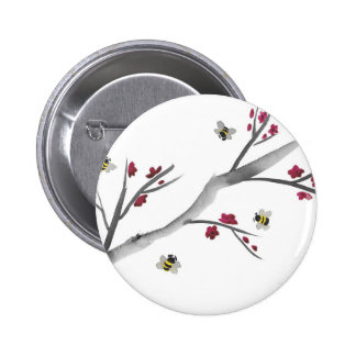 Blossoms and Bees 6 Cm Round Badge